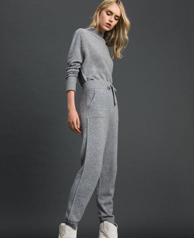 Pantalon de jogging en laine et cachemire Gris Mélangé Femme 192TT3024-01