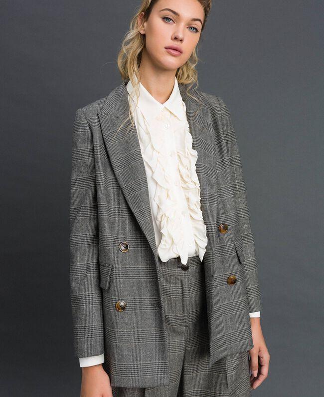 Glen plaid double breasted jacket Lurex Dark Grey Wales Design Woman 192TT2443-05
