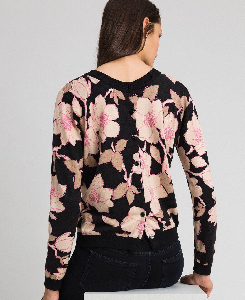 Cardigan-pull avec imprimé floral Imprimé Fleur Noir Femme 192LL3KRR-06