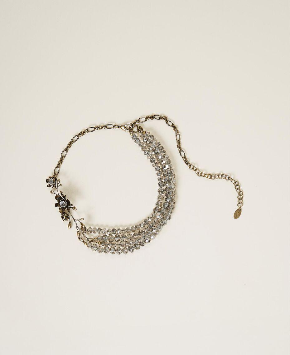 Halskette mit Blume und Perlchen Altmessing Frau 202TO5050-01