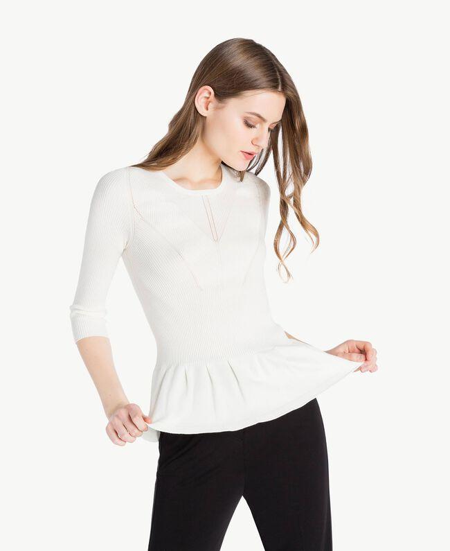 Pullover mit Streifen Helles Elfenbein Frau PS8395-01