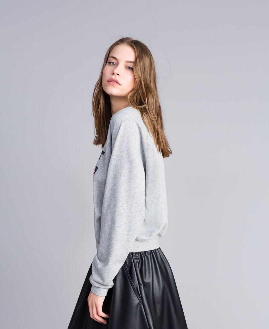 Sweatshirt aus Baumwolle Hellgrau-Mélange Frau JA82FB-02