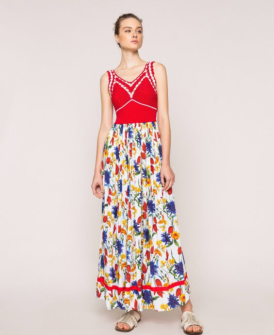 Long dress with crochet and floral print