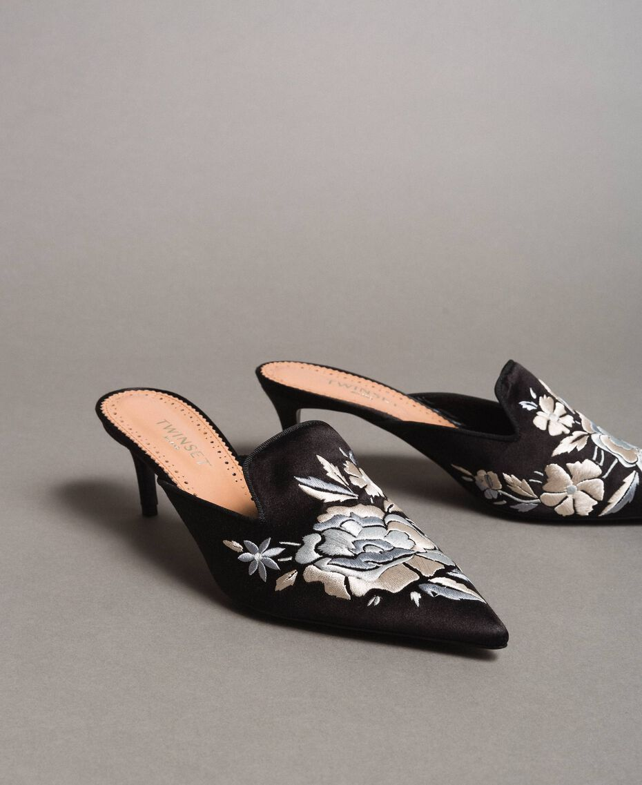 Embroidered satin mules Black Woman 191TCT016-01