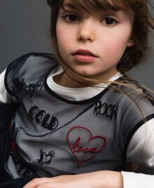 Tulle blouse with embroideries and T-shirt White / Black Child 192GJ2434-05