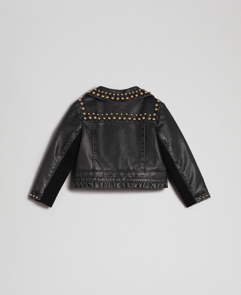Faux leather biker jacket with studs Black Child 192GB2020-0S