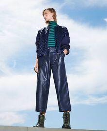 Pantalon cropped en similicuir Bleu Blackout Femme 202LI2GAA-02