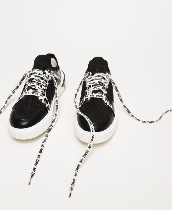 Mesh trainers with animal print detail