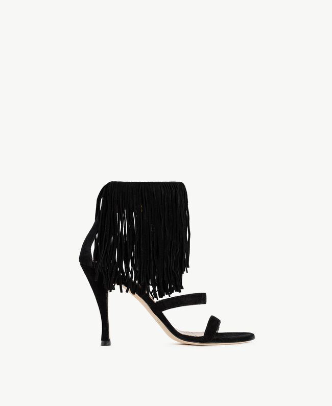 TWINSET Fringe sandals Black Woman CS8TA1-01