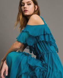 Silk crepon long dress with flounces Tile Blue Woman 191TT2423-05