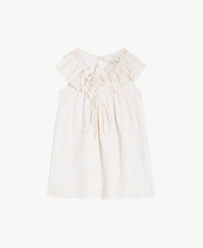 "Lace dress Two-tone ""Papyrus"" White / Chantilly Child FS82X2-01"