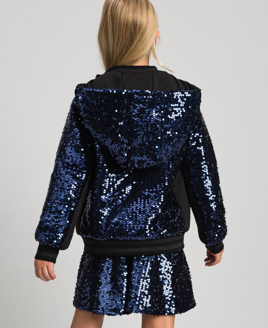 Velvet bomber jacket with sequins Blue Night Child 192GJ2090-03