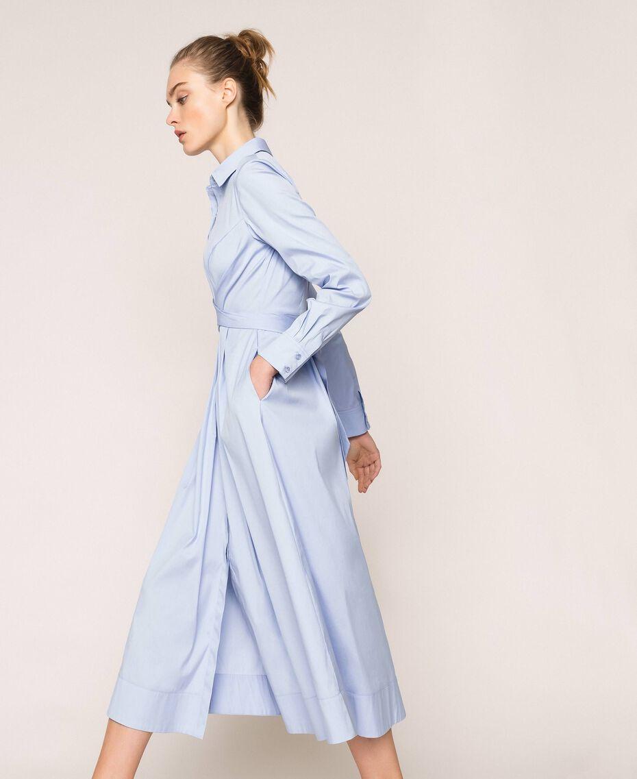 Длинное платье-рубашка из поплина Blue Sky женщина 201MP218C-02