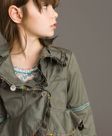 Cotton jacket with mini medals Tundra Green Child 191GJ2070-04