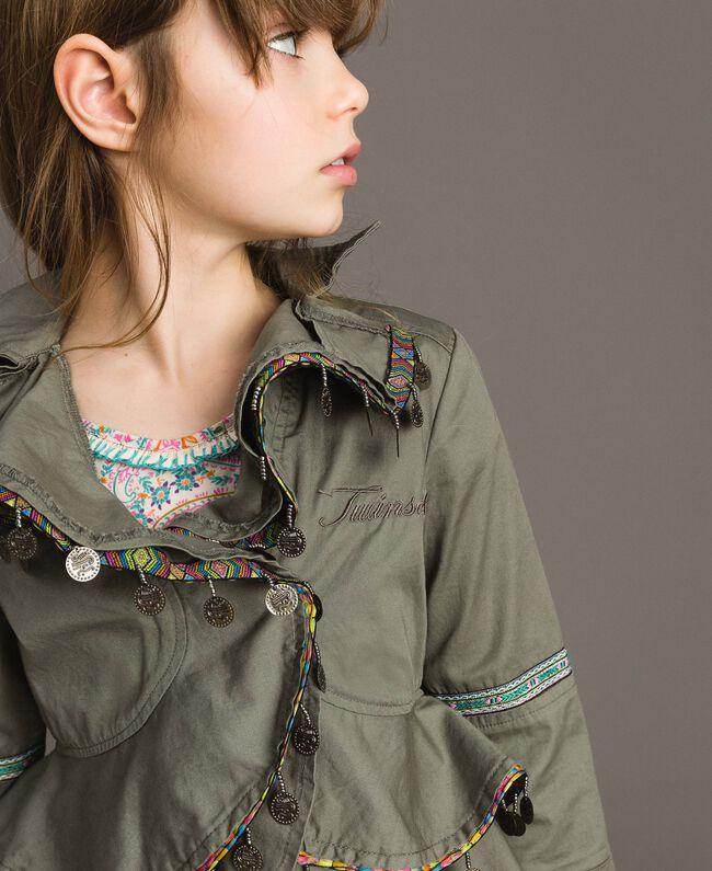 Blouson en coton avec mini médailles Vert Toundra Enfant 191GJ2070-04