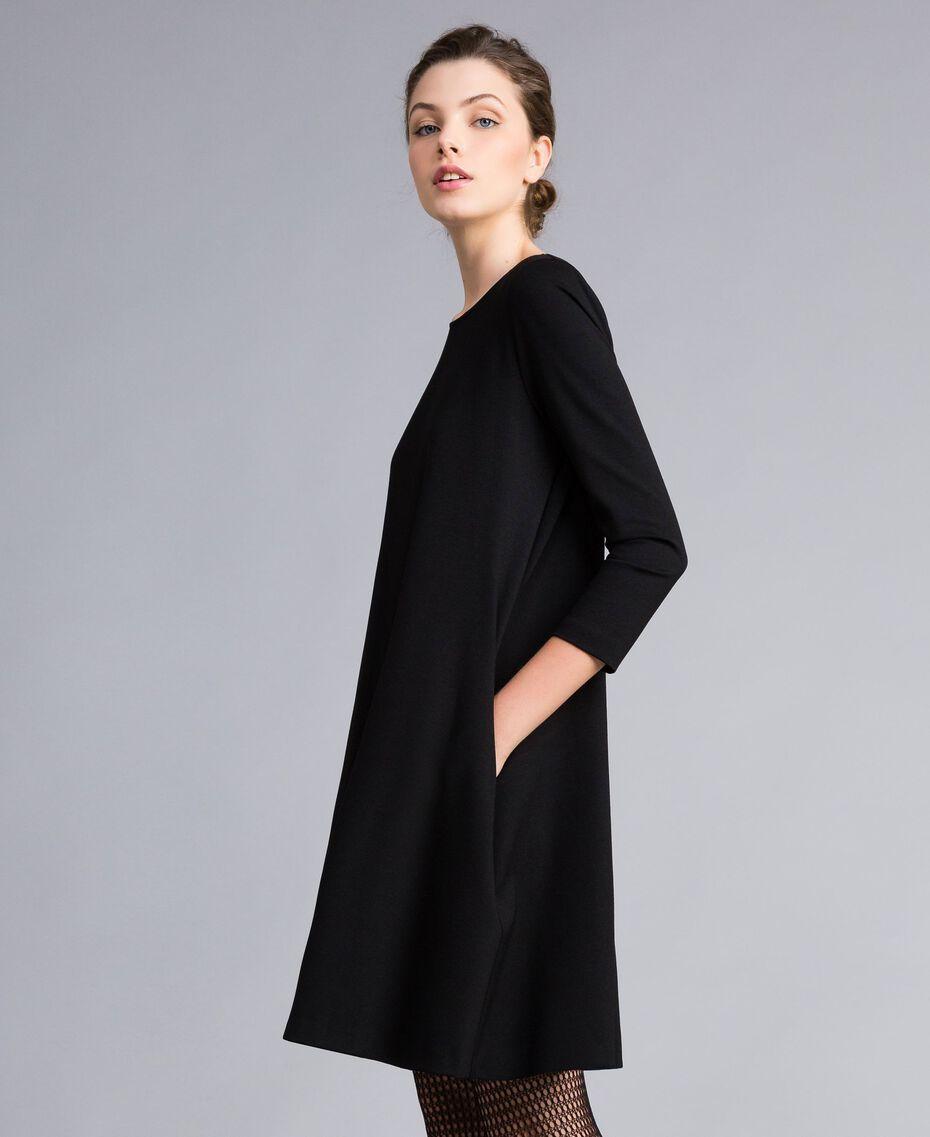 A-line Milan stitch dress Black Woman PA821U-02