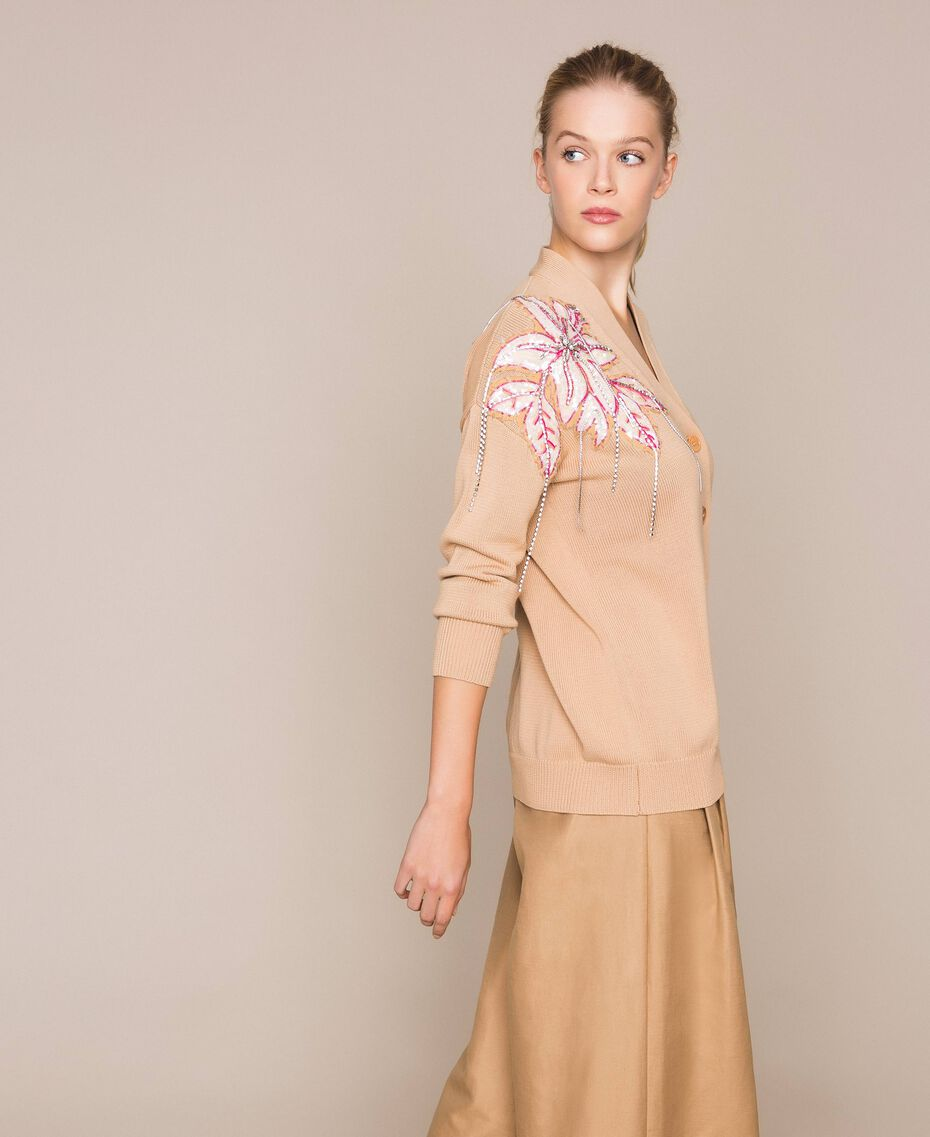 """Cardigan with floral patches and embroideries Dark """"Cremino"""" Beige Woman 201TP3171-02"""