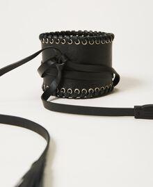 Cinturón fajín de piel con velas Negro Mujer 211TO506C-01