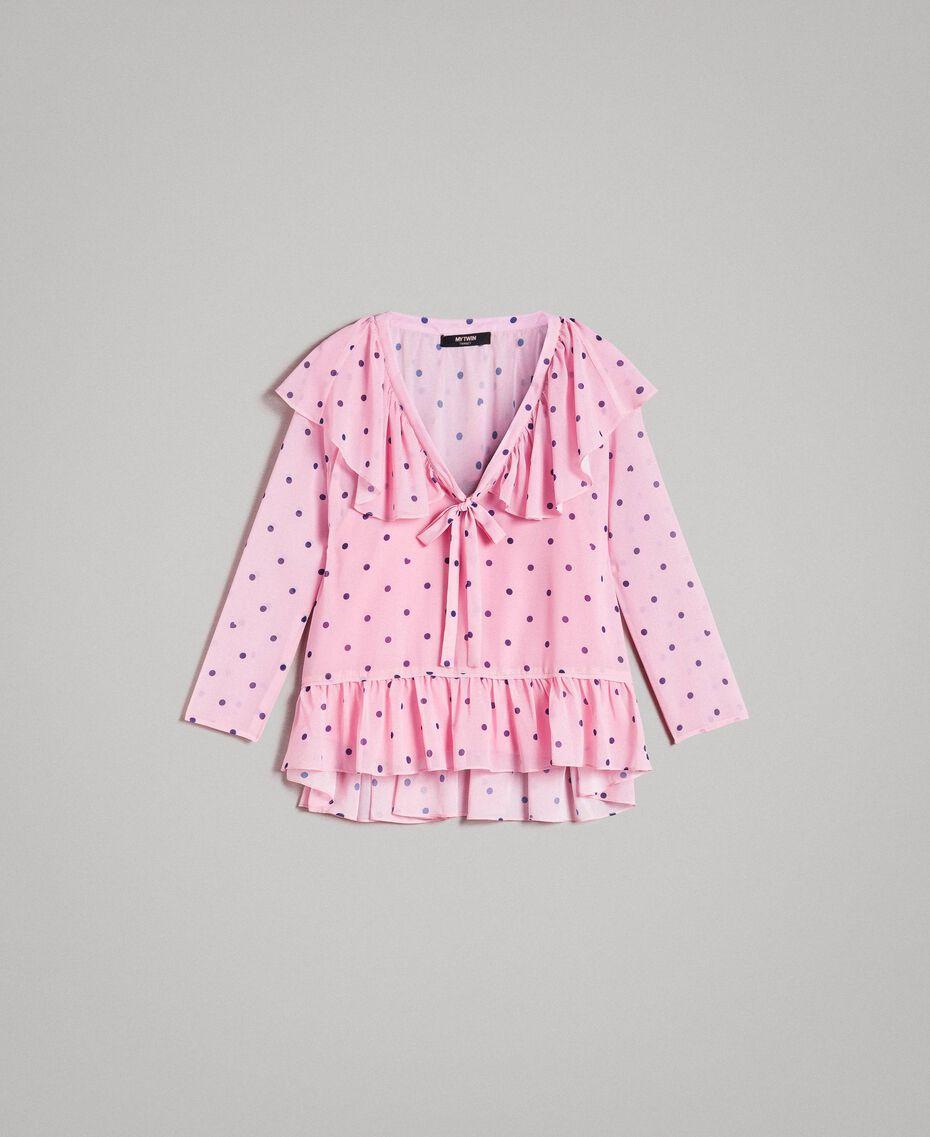Georgette-Bluse mit Aufdruck Motiv Herzen Polka Dot Hortensienpink Frau 191MP2381-0S