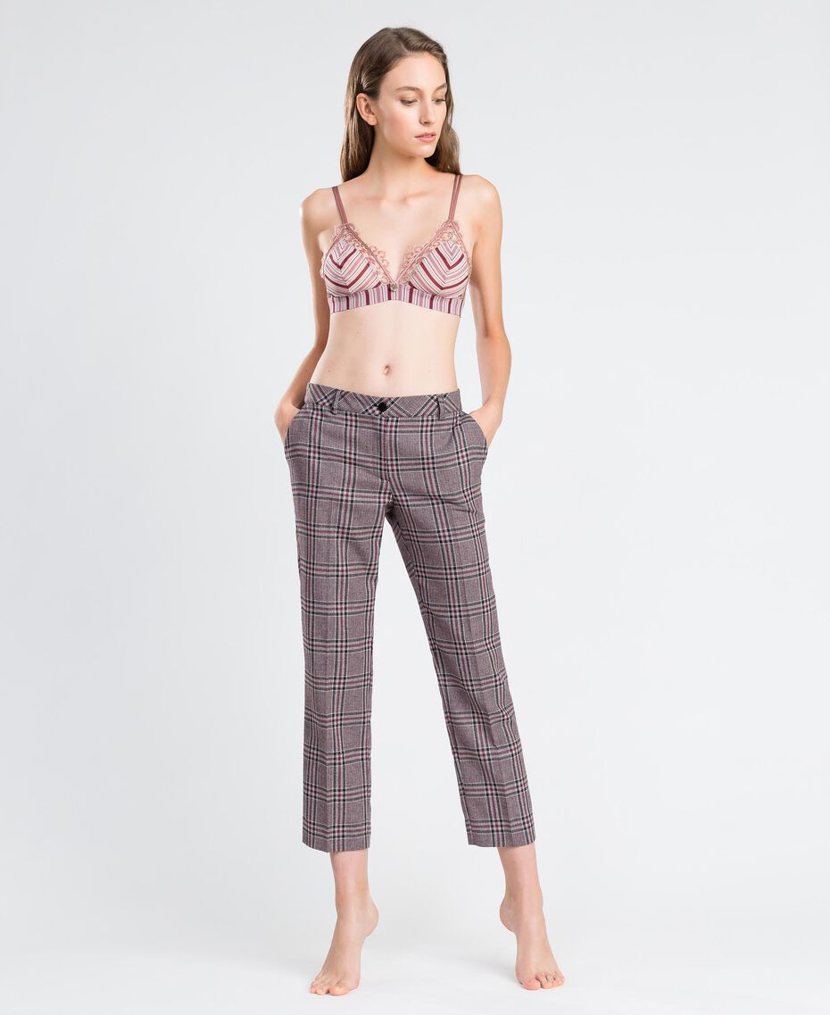 Pantalon cigarette Imprimé Rougeâtre Écossais Femme LA8NFF-0S