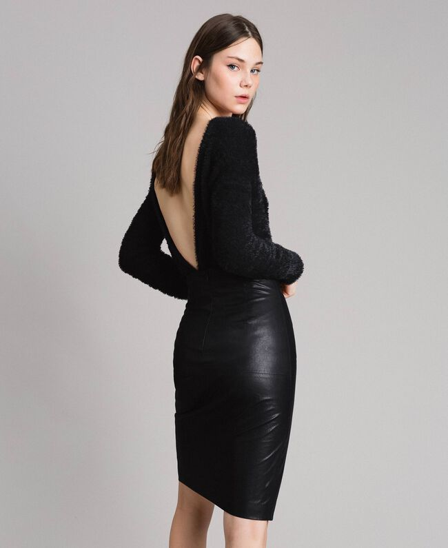 Faux leather mid-length skirt Black Woman 191TP2552-04