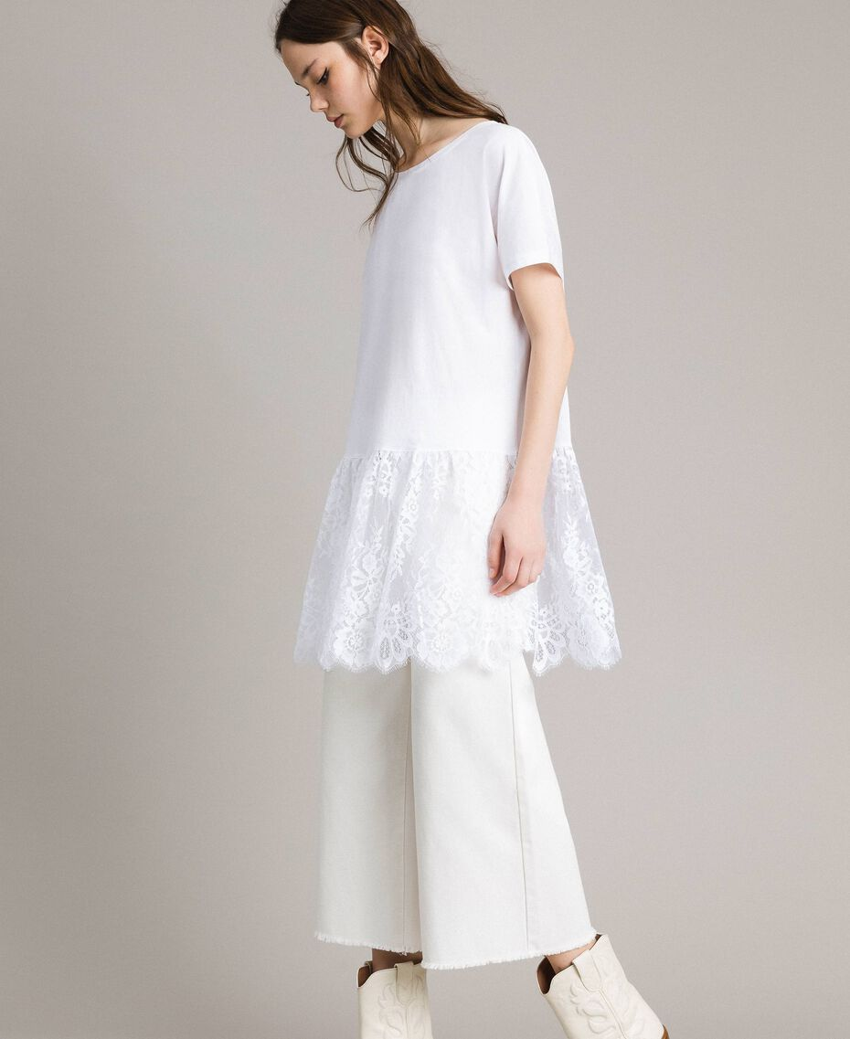 Maxi T-shirt con pizzo Bianco Donna 191TP260G-02