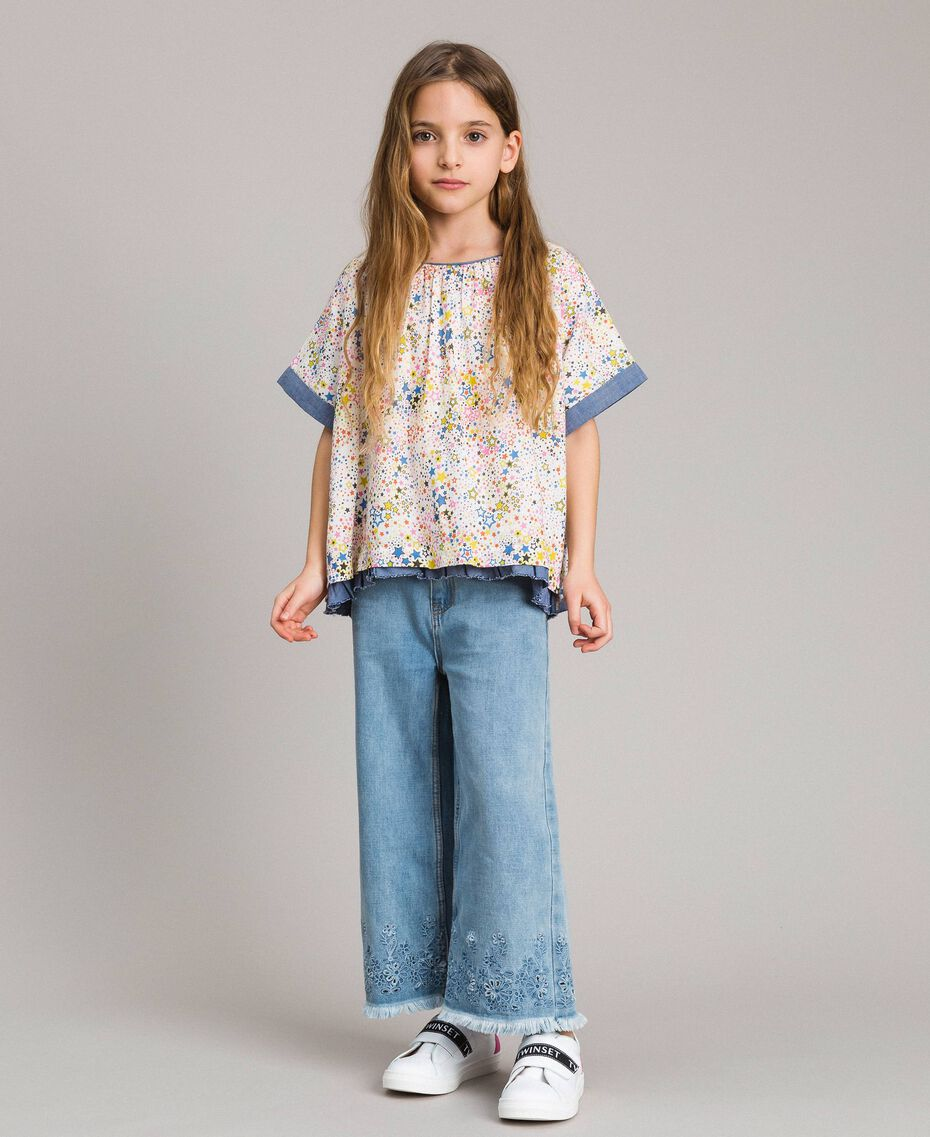 Muslin blouse with print Mini Stars Print Child 191GJ2531-0S