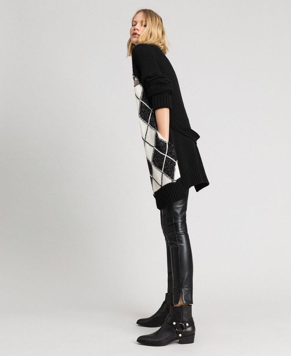 Maxi cardigan avec incrustation en losanges et broderie Noir Incrustation Femme 192TP3220-02