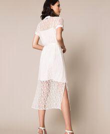 "Long lace dress with belt ""Silk"" White Woman 201ST2151-04"