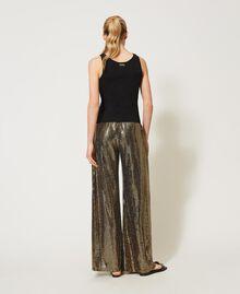 Pantaloni a palazzo a pois laminati Stampa Pois Nero / Oro Donna 211LM21TT-03