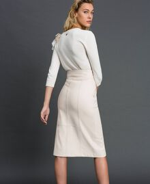 Faux leather midi skirt White Snow Woman 192TT203B-03