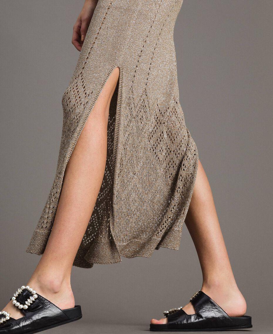 Robe longue en lurex ajouré Noir Femme 191TT3110-05