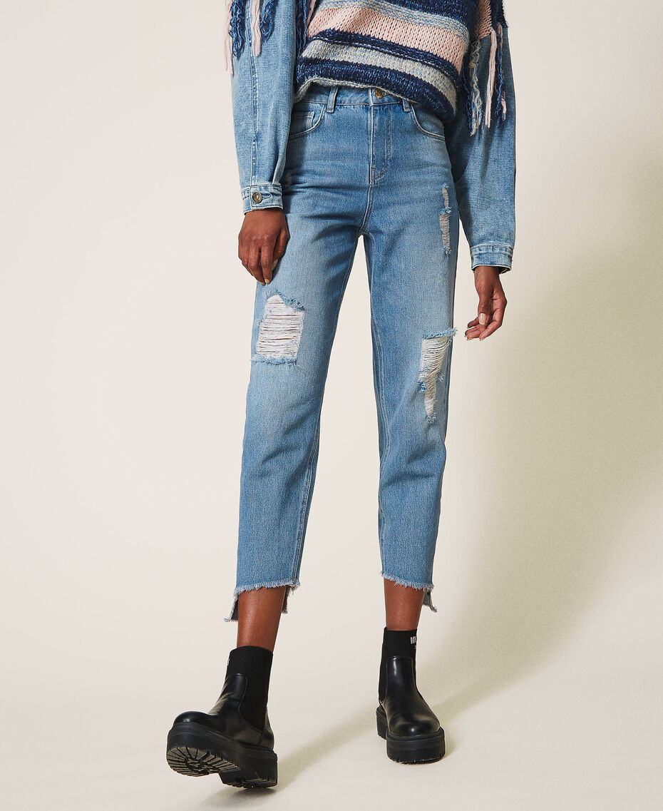 Стандартные джинсы с прорехами Деним Светлый женщина 202MT2310-02