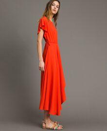 Robe longue en soie mélangée Rouge Grenadine Femme 191TT2079-02