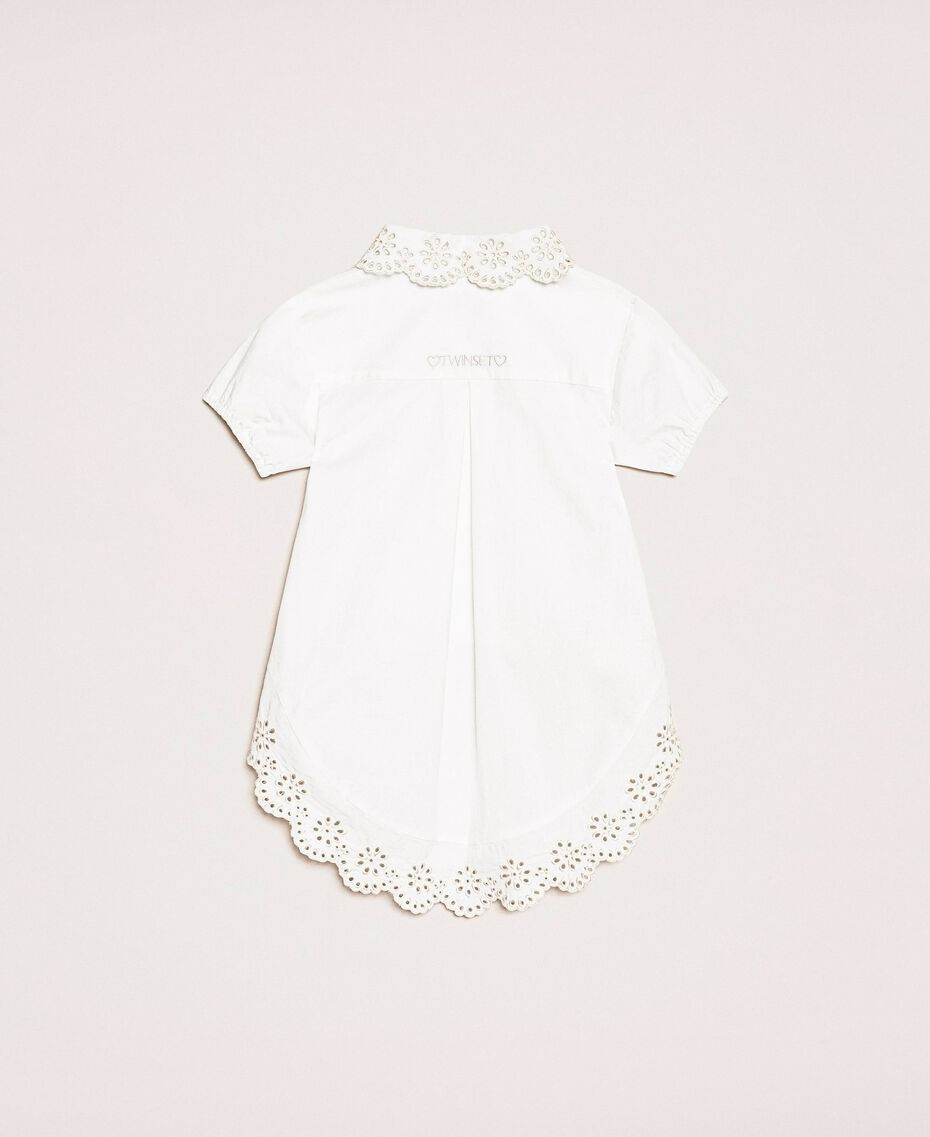 "Poplin shirt with broderie anglaise Two-tone ""Papyrus"" White / Chantilly Child 201GB2151-0S"