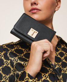 Portefeuille en cuir avec rabat Noir Femme 202TD8043-0S