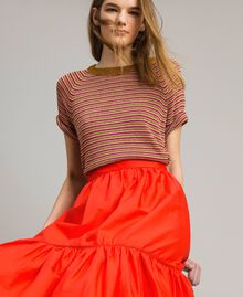 Poplin mid-length skirt Granadine Red Woman 191TT224B-04