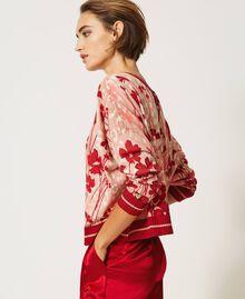Cardigan-Pullover mit Blumendessin Blumen-Animal-Dessin Pfirsich / Kirschrot Frau 202TP3500-02