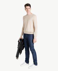 Cotton and cashmere jumper Beige Porcelain Man US831B-05