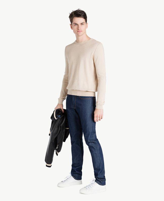 Pullover aus Baumwolle und Kaschmir Porzellan Beige Mann US831B-05