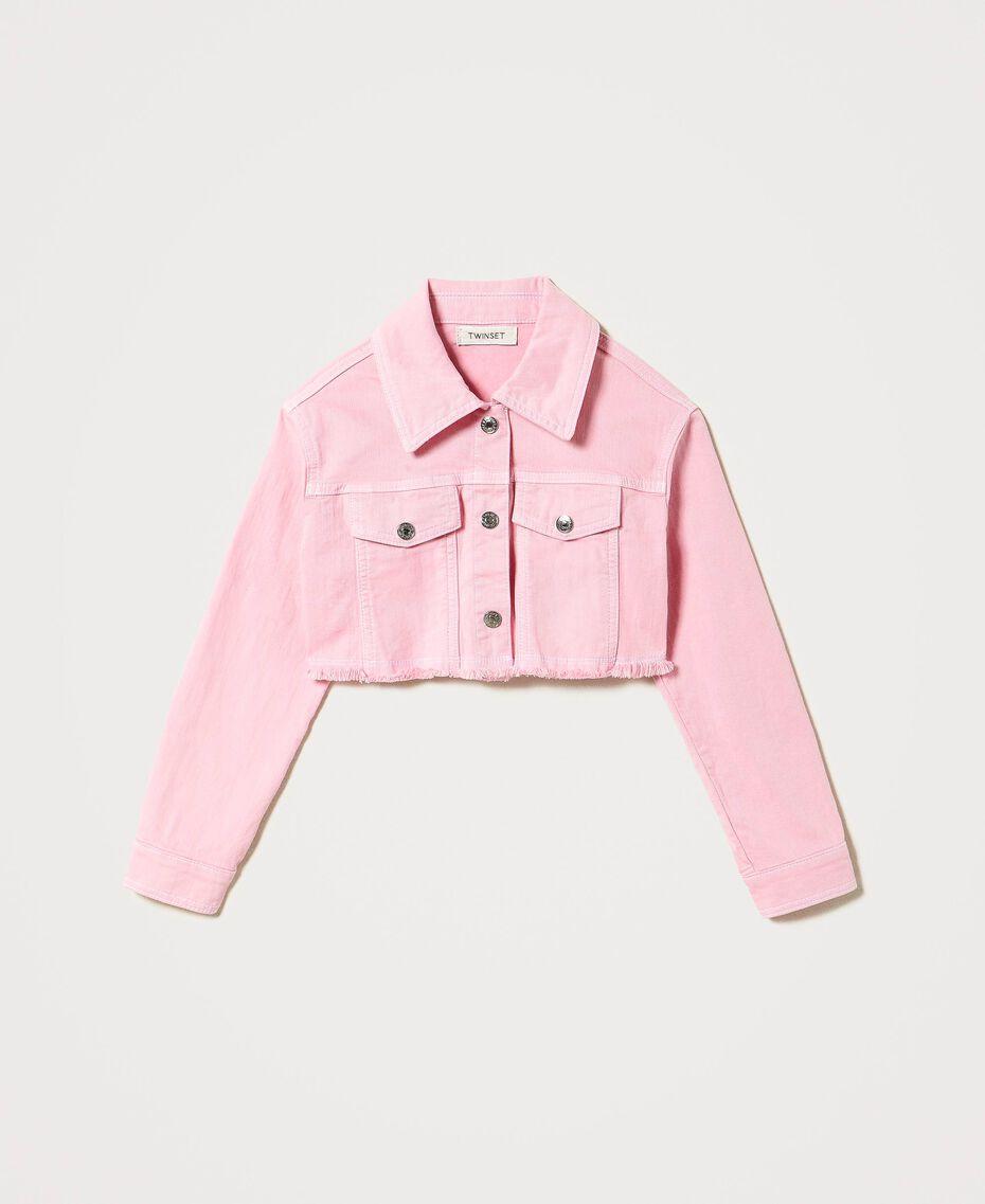 """Cropped bull jacket with logo """"Iceland Poppy"""" Orange Child 211GJ206B-0S"""