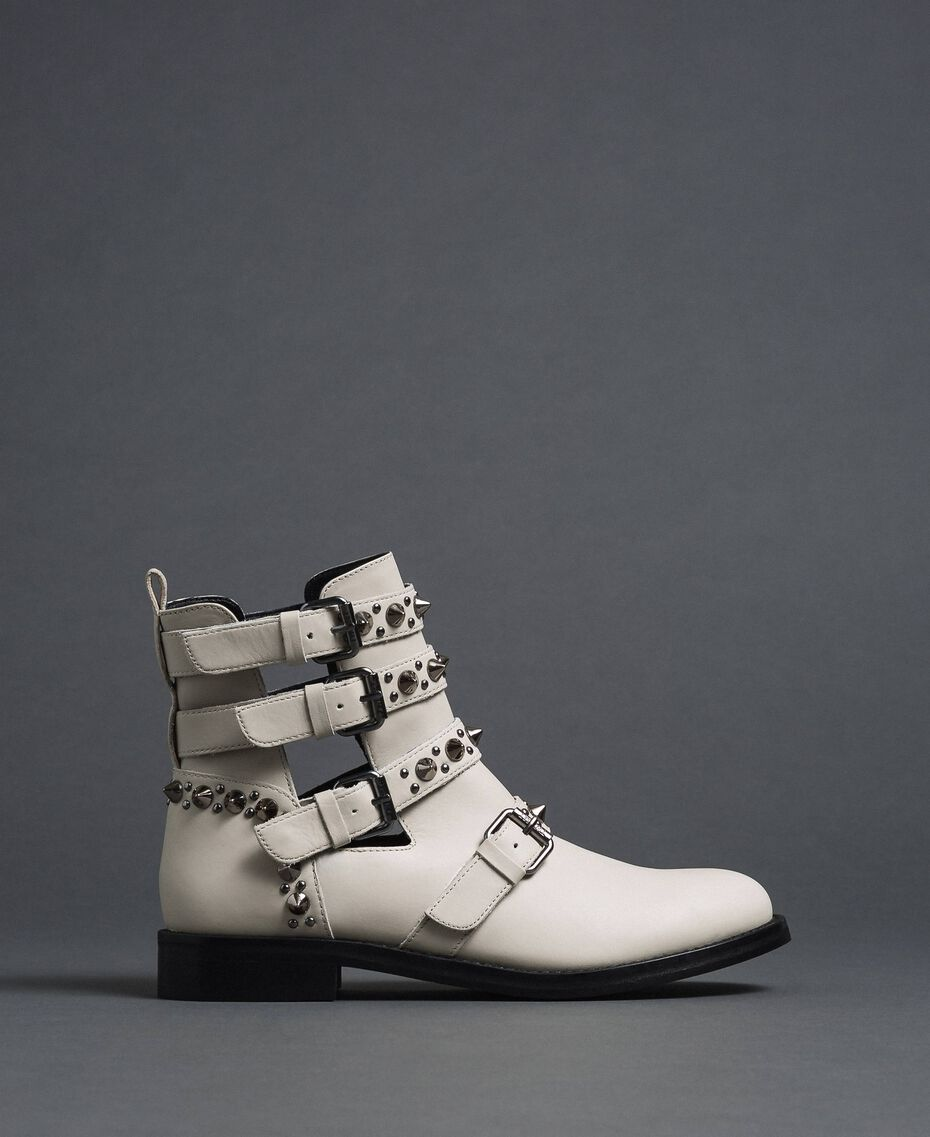 Leather biker boots with straps and studs White Snow Woman 192TCP01U-03