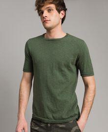 """T-shirt en coton mélangé flammé Vert """"Cactus"""" Homme 191UT3071-04"""