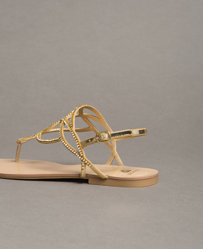 """Flat thong sandals with rhinestones """"Golden"""" Gold Woman 191LM4ZSS-03"""