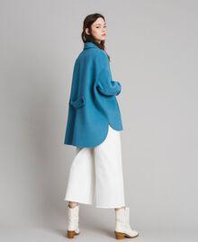 Caban en tissu de laine double Bleu Mykonos Clair Femme 191TP2481-03
