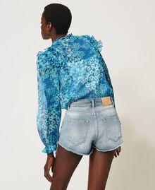 Denim shorts with bezel fringes Denim Woman 211TT2381-05