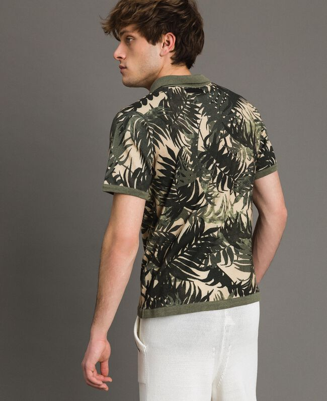 "Crêpe cotton printed polo shirt All Over ""Palms"" Camouflage Print Man 191UT3061-03"