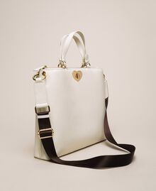 Grand cabas en cuir orné d'un cœur Blanc Neige Femme 201TA7052-01