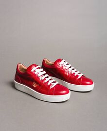 "Leder-Sneakers mit Schmetterlings-Stickerei ""Lipstick Red"" Rot Frau 191TCT09Y-01"