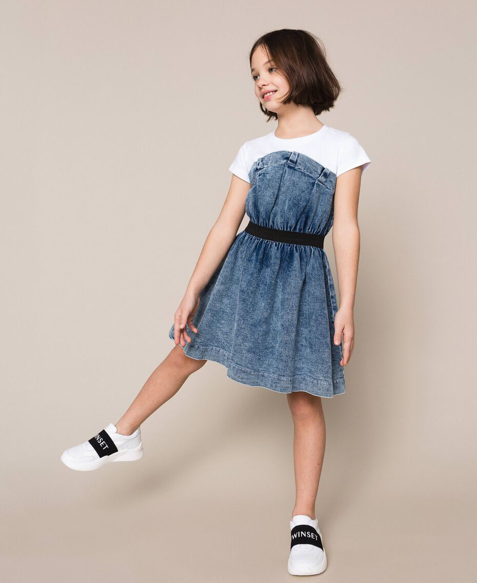 "Denim dress with gathering Two-tone ""Papers"" White / Medium Denim Child 201GJ2010-02"